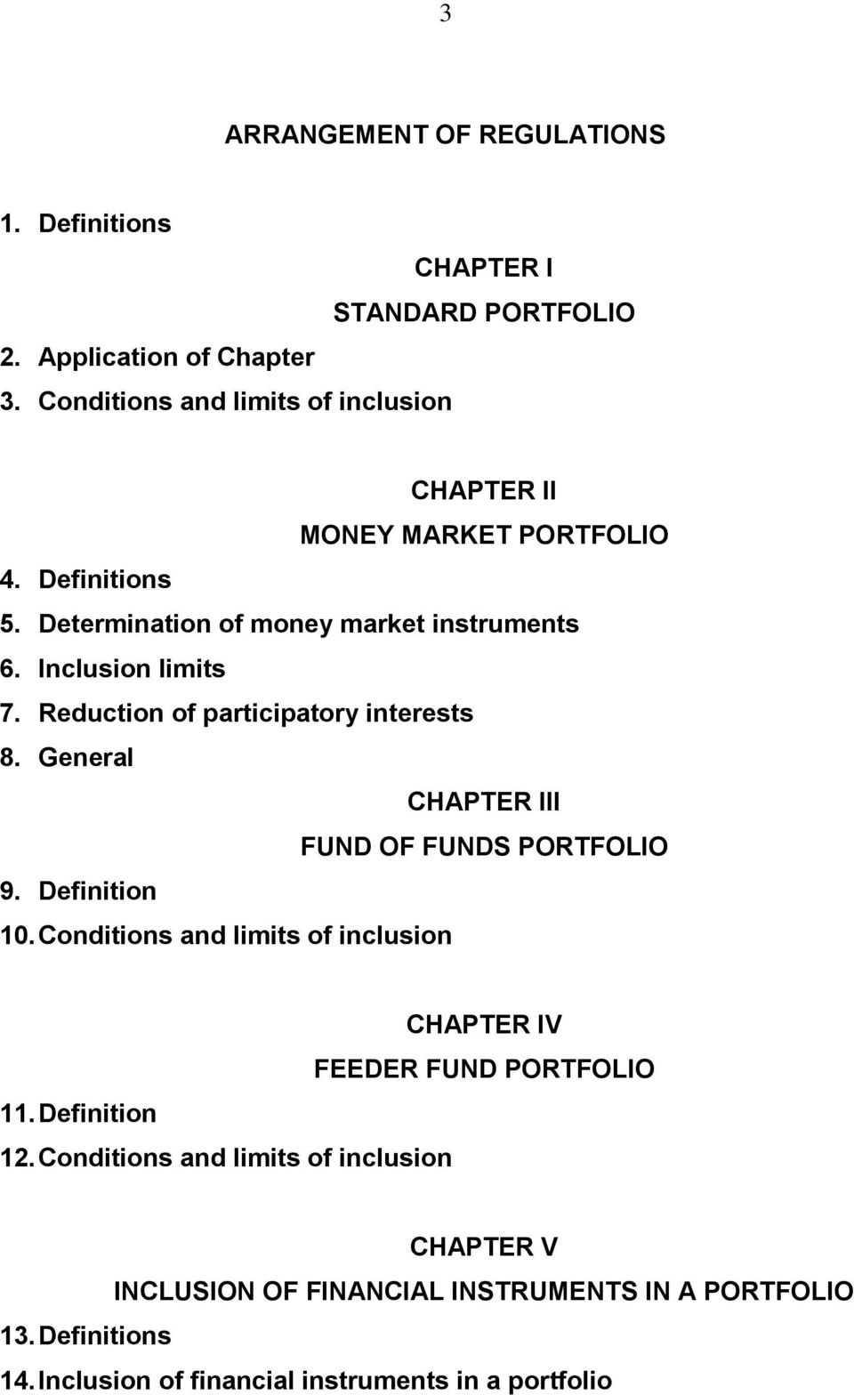 Reduction of participatory interests 8. General CHAPTER III FUND OF FUNDS PORTFOLIO 9. Definition 10.