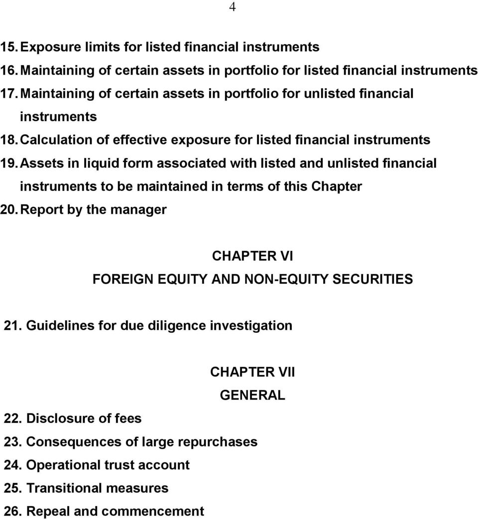 Assets in liquid form associated with listed and unlisted financial instruments to be maintained in terms of this Chapter 20.