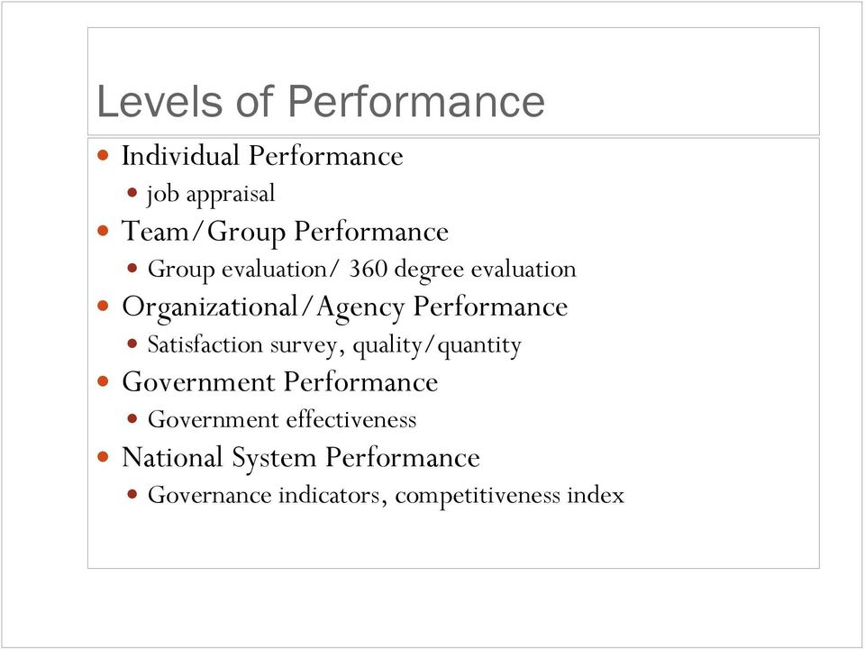 Performance Satisfaction survey, quality/quantity Government Performance