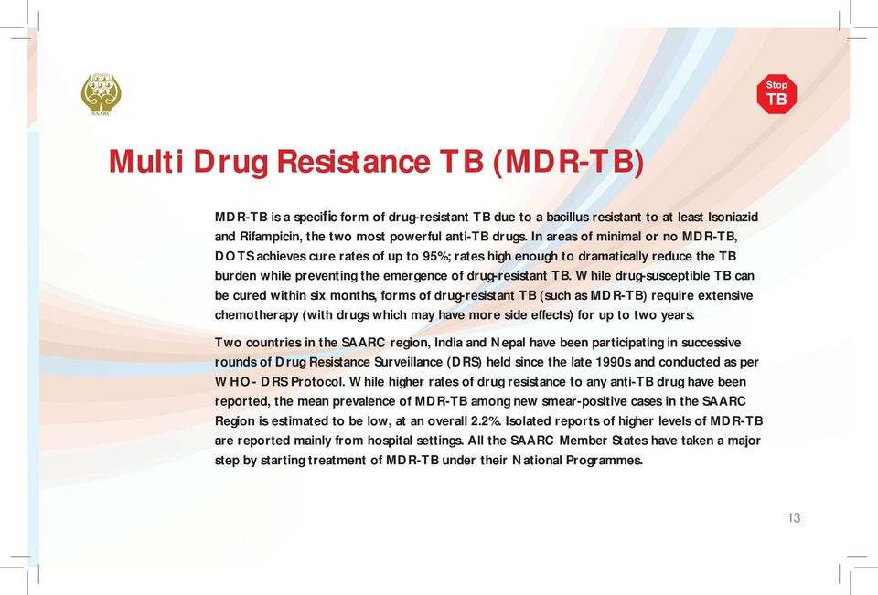 While drug-susceptible TB can be cured within six months, forms of drug-resistant TB (such as MDR-TB) require extensive chemotherapy (with drugs which may have more side effects) for up to two years.