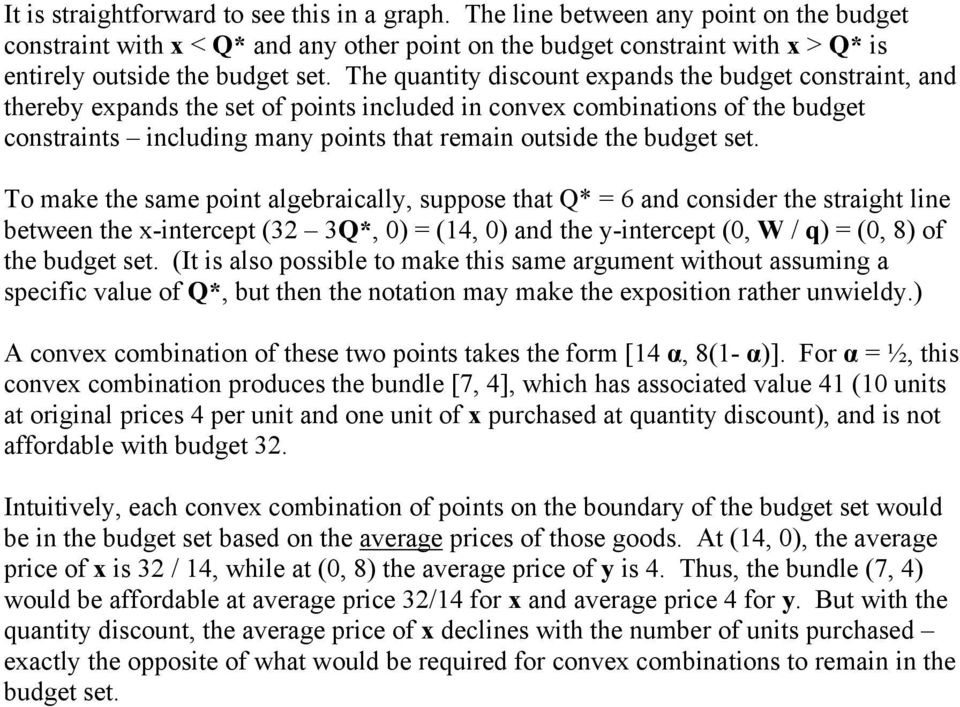 The quantity discount expands the budget constraint, and thereby expands the set of points included in convex combinations of the budget constraints including many points that remain outside the