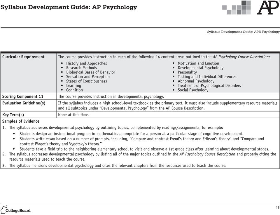 The syllabus addresses developmental psychology by outlining topics, complemented by readings/assignments, for example: Students design an instructional program in mathematics appropriate for a