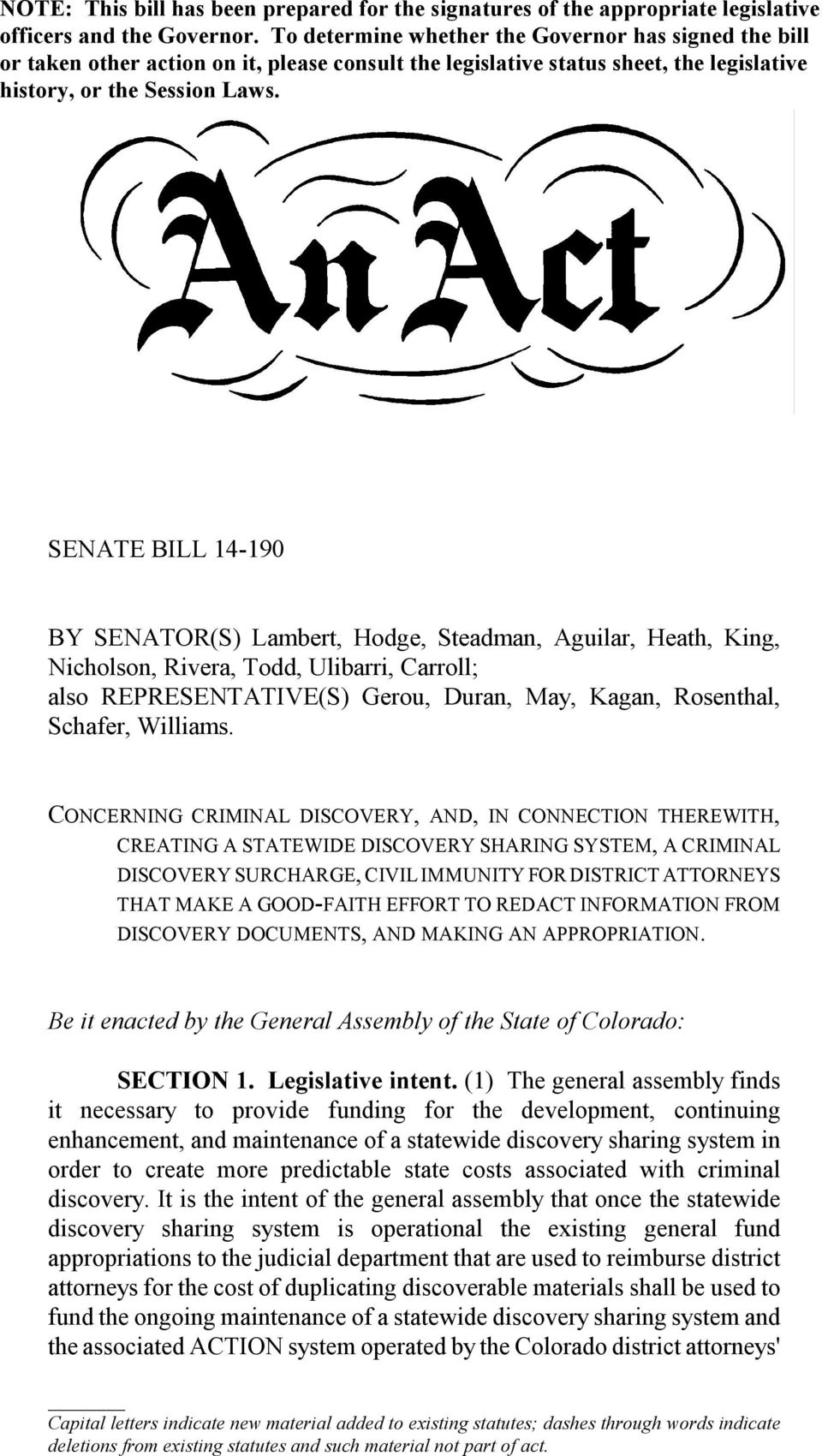 SENATE BILL 14-190 BY SENATOR(S) Lambert, Hodge, Steadman, Aguilar, Heath, King, Nicholson, Rivera, Todd, Ulibarri, Carroll; also REPRESENTATIVE(S) Gerou, Duran, May, Kagan, Rosenthal, Schafer,