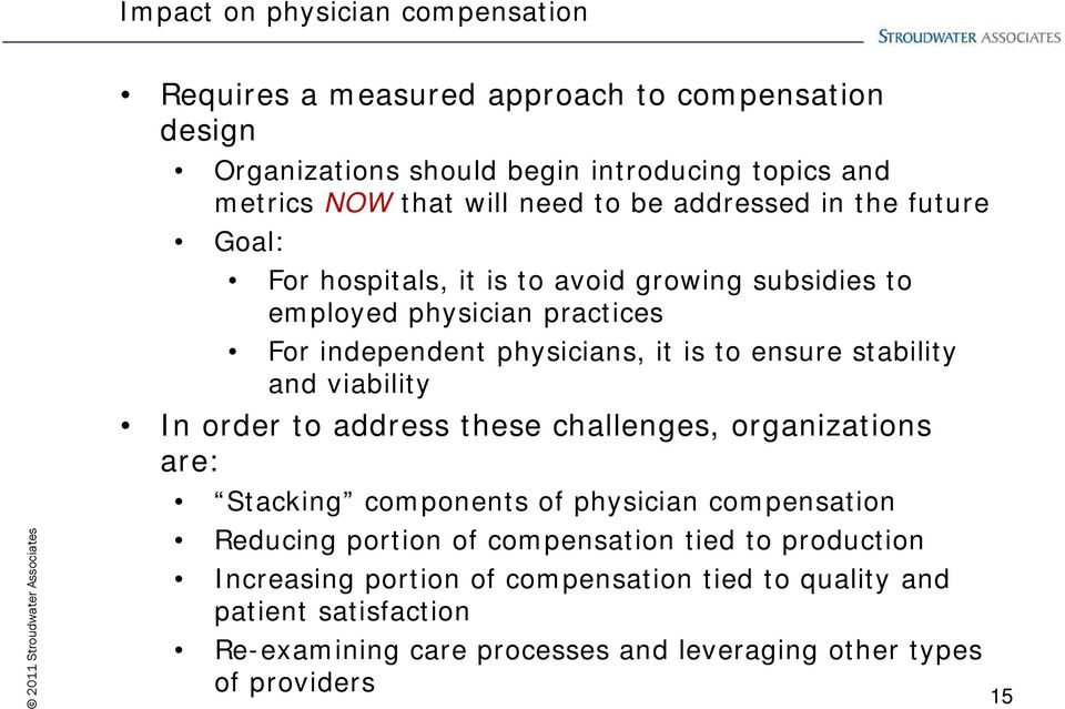 stability and viability In order to address these challenges, organizations are: Stacking components of physician compensation Reducing portion of compensation