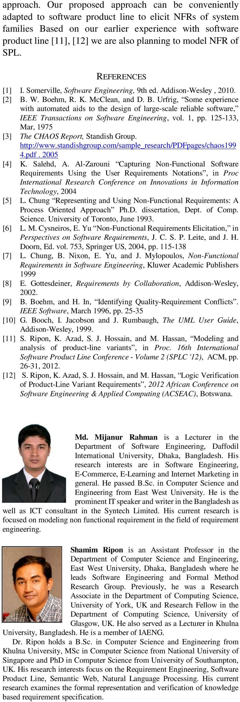 to model NFR of SPL. REFERENCES [1] I. Somerville, Software Engineering, 9th ed. Addison-Wesley, 2010. [2] B.