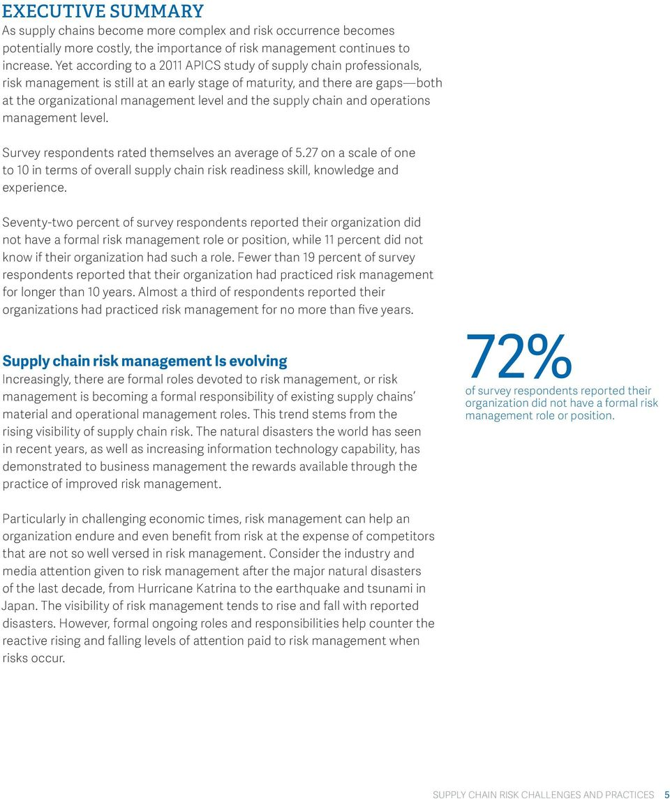 supply chain and operations management level. Survey respondents rated themselves an average of 5.