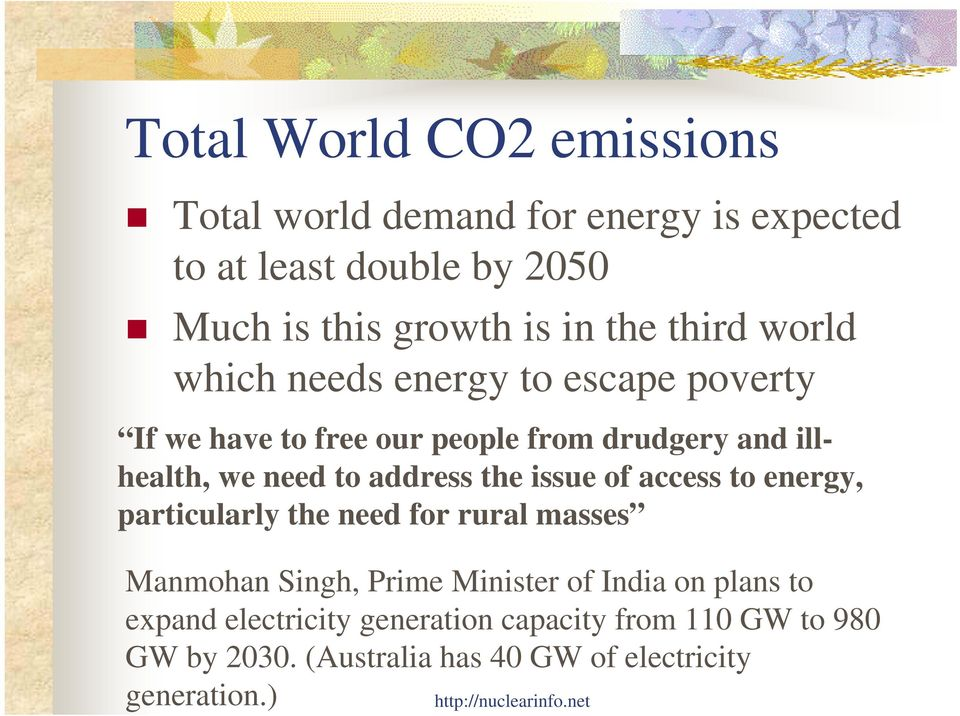 address the issue of access to energy, particularly the need for rural masses Manmohan Singh, Prime Minister of India on