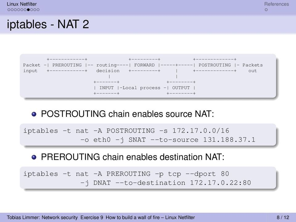 source NAT: iptables -t nat -A POSTROUTING -s 172.17.0.0/16 -o eth0 -j SNAT --to-source 131.188.37.