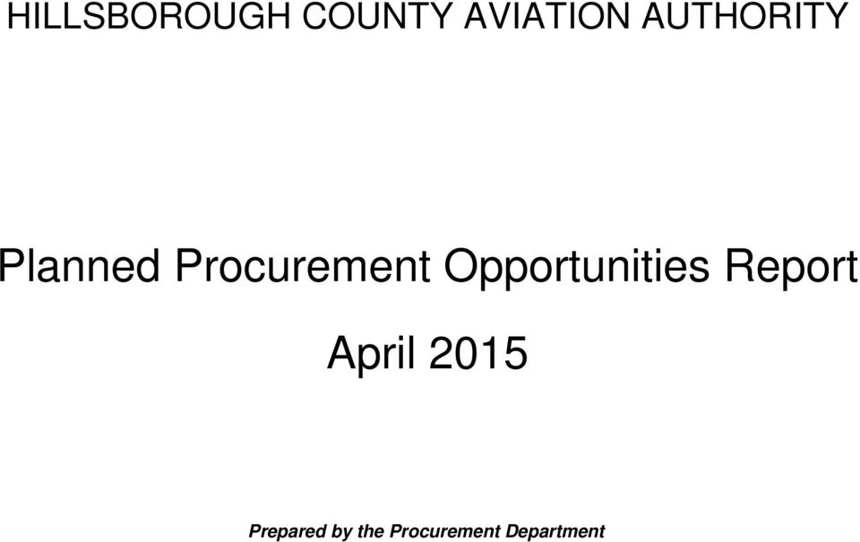Opportunities Report April 2015
