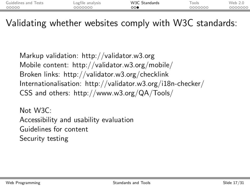 w3.org/i18n-checker/ CSS and others: http://www.w3.org/qa/tools/ Not W3C: Accessibility and usability