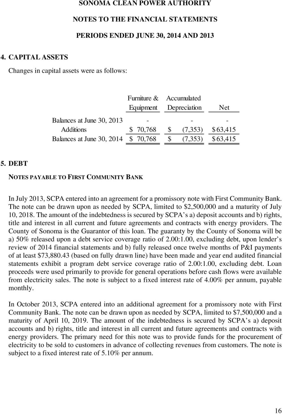 2014 $ 70,768 $ (7,353) $ 63,415 5. DEBT NOTES PAYABLE TO FIRST COMMUNITY BANK In July 2013, SCPA entered into an agreement for a promissory note with First Community Bank.