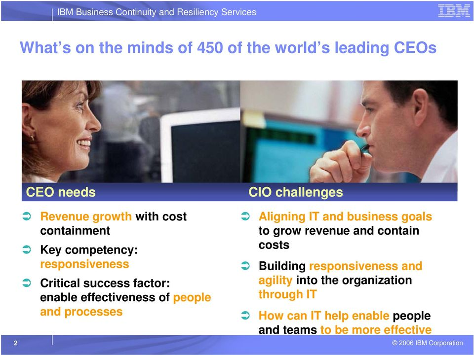 CIO challenges Aligning IT and business goals to grow revenue and contain costs Building responsiveness