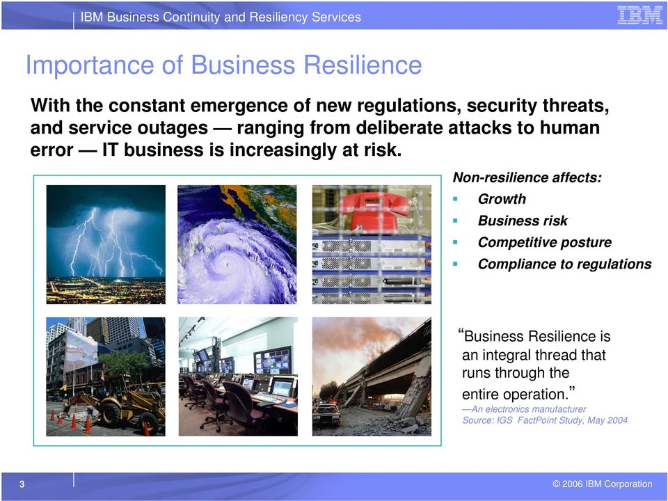 Non-resilience affects: Growth Business risk Competitive posture Compliance to regulations Business Resilience