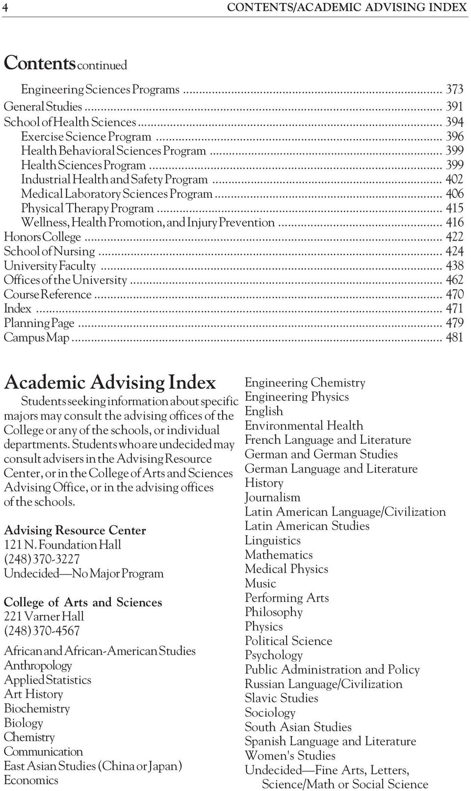 .. 415 Wellness, Health Promotion, and Injury Prevention... 416 Honors College... 422 School of Nursing... 424 University Faculty... 438 Offices of the University... 462 Course Reference... 470 Index.