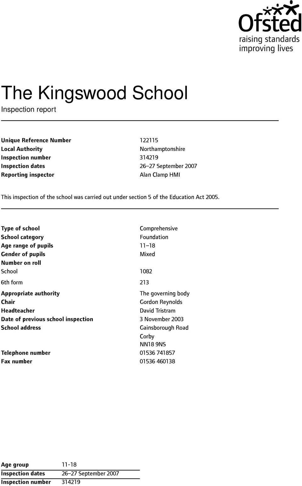 Type of school School category Age range of pupils Gender of pupils Number on roll School 6th form Appropriate authority Chair Headteacher Date of previous school inspection School