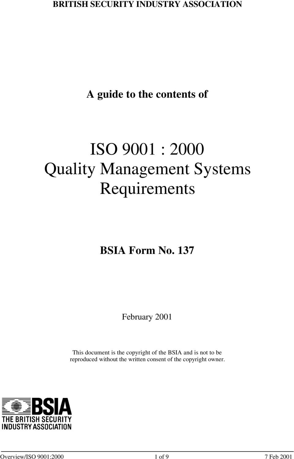 137 February 2001 This document is the copyright of the BSIA and is