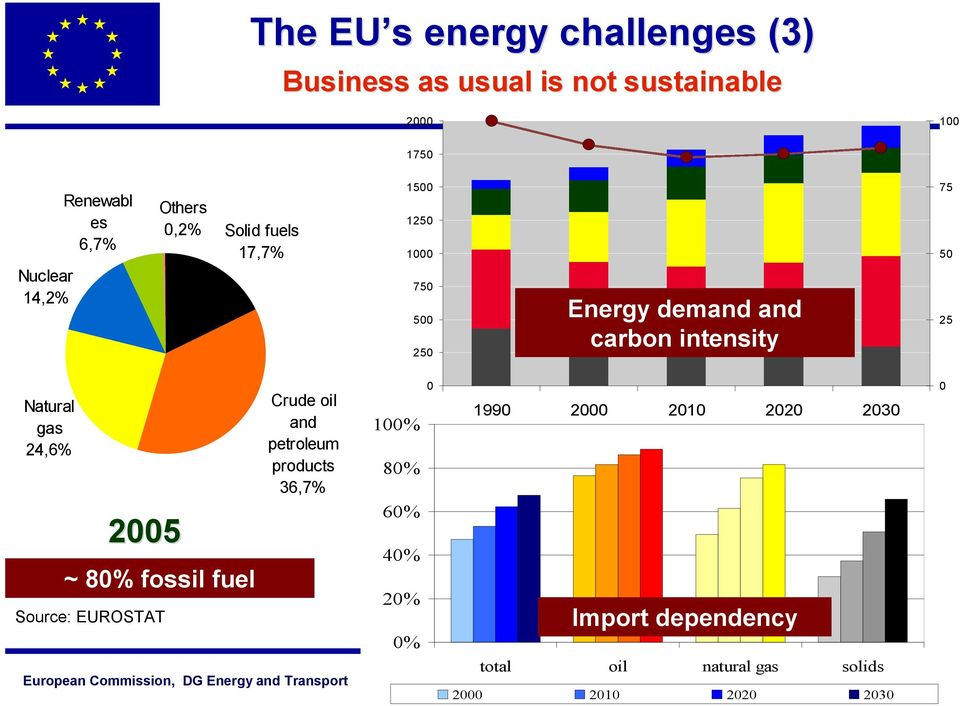 Natural gas 24,6% 2005 ~ 80% fossil fuel Source: EUROSTAT Crude oil and petroleum products 36,7% 100% 80%
