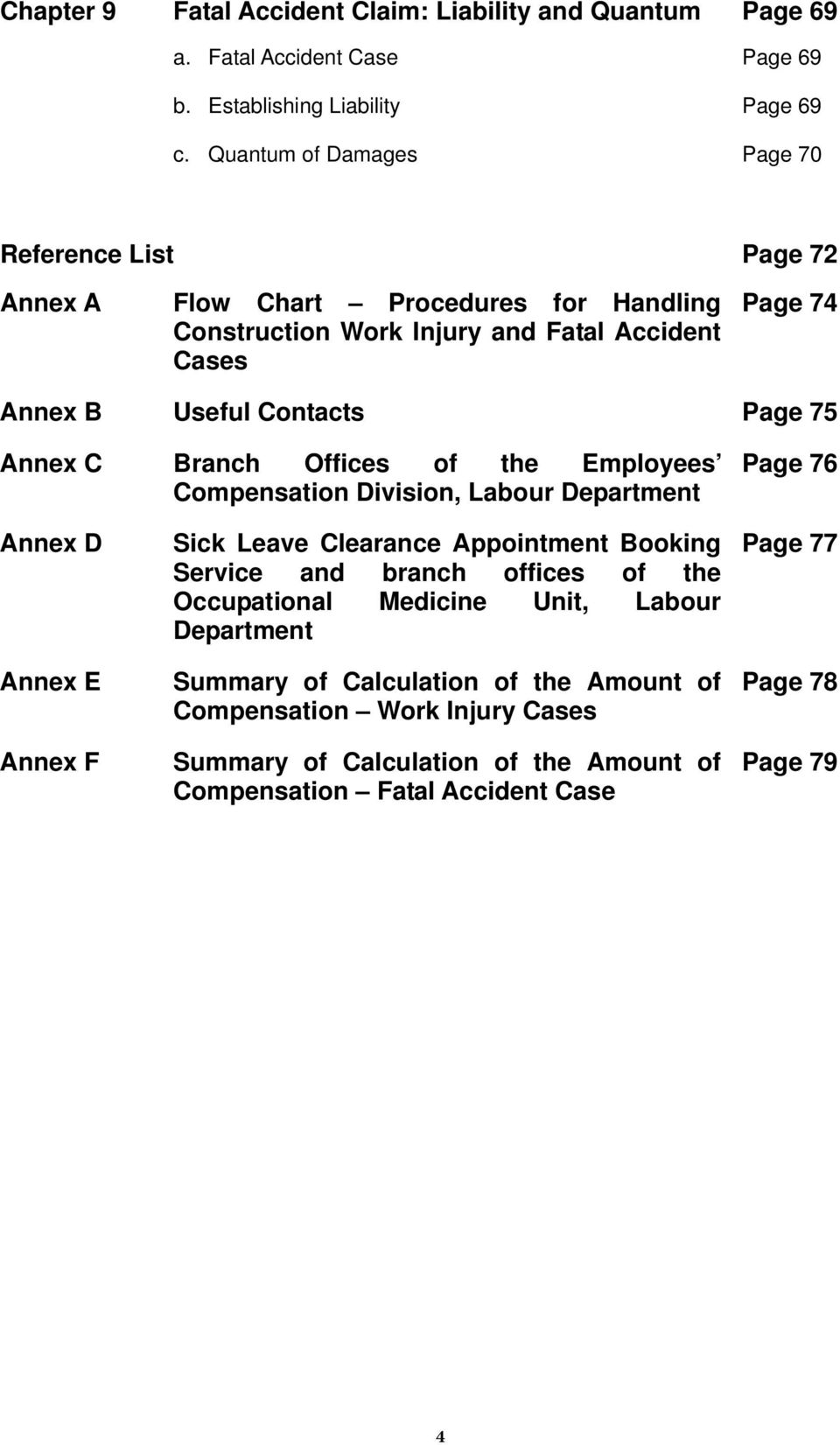C Branch Offices of the Employees Compensation Division, Labour Department Page 76 Annex D Annex E Annex F Sick Leave Clearance Appointment Booking Service and branch offices