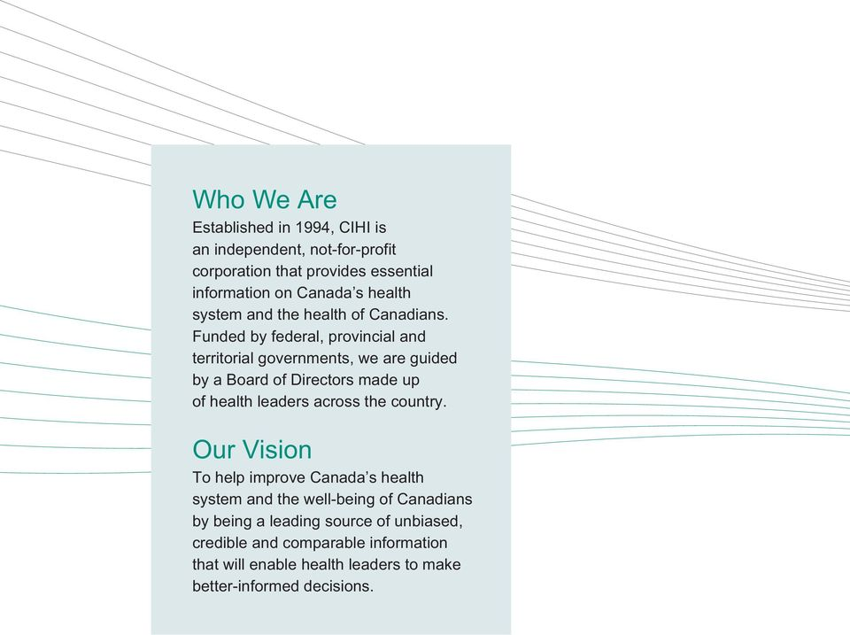 Funded by federal, provincial and territorial governments, we are guided by a Board of Directors made up of health leaders across the