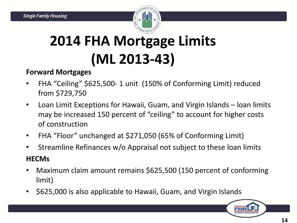 construction FHA Floor unchanged at $271,050 (65% of Conforming Limit) Streamline Refinances w/o Appraisal not subject to these loan limits
