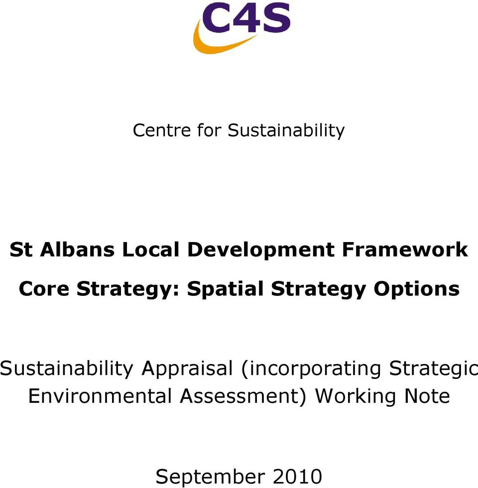 Strategy Options Sustainability Appraisal