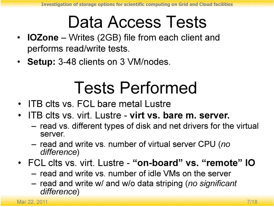 different types of disk and net drivers for the virtual server. read and write vs.