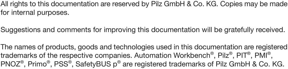 The names of products, goods and technologies used in this documentation are registered trademarks of the