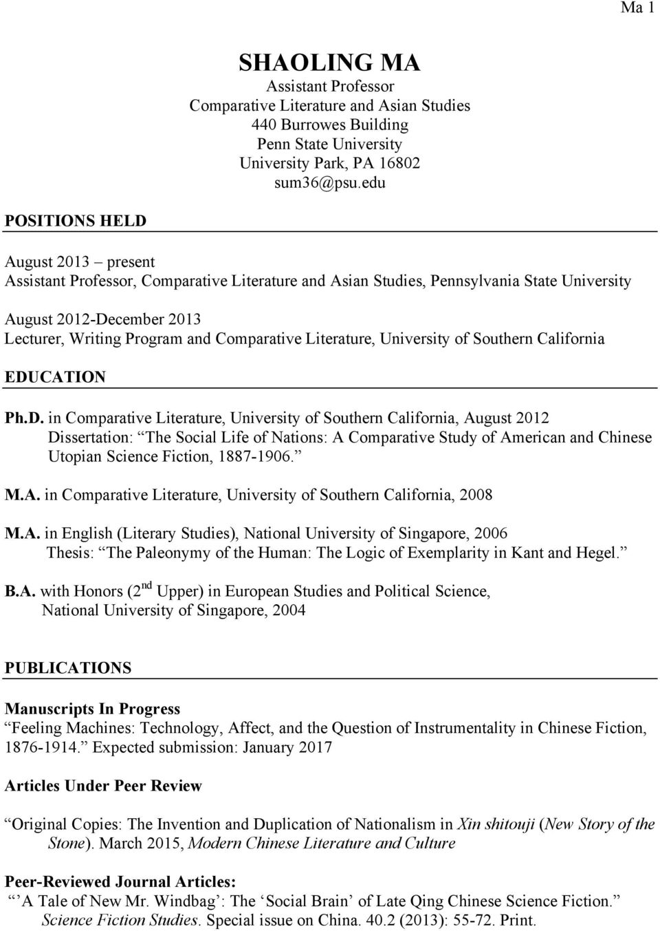 Literature, University of Southern California EDU