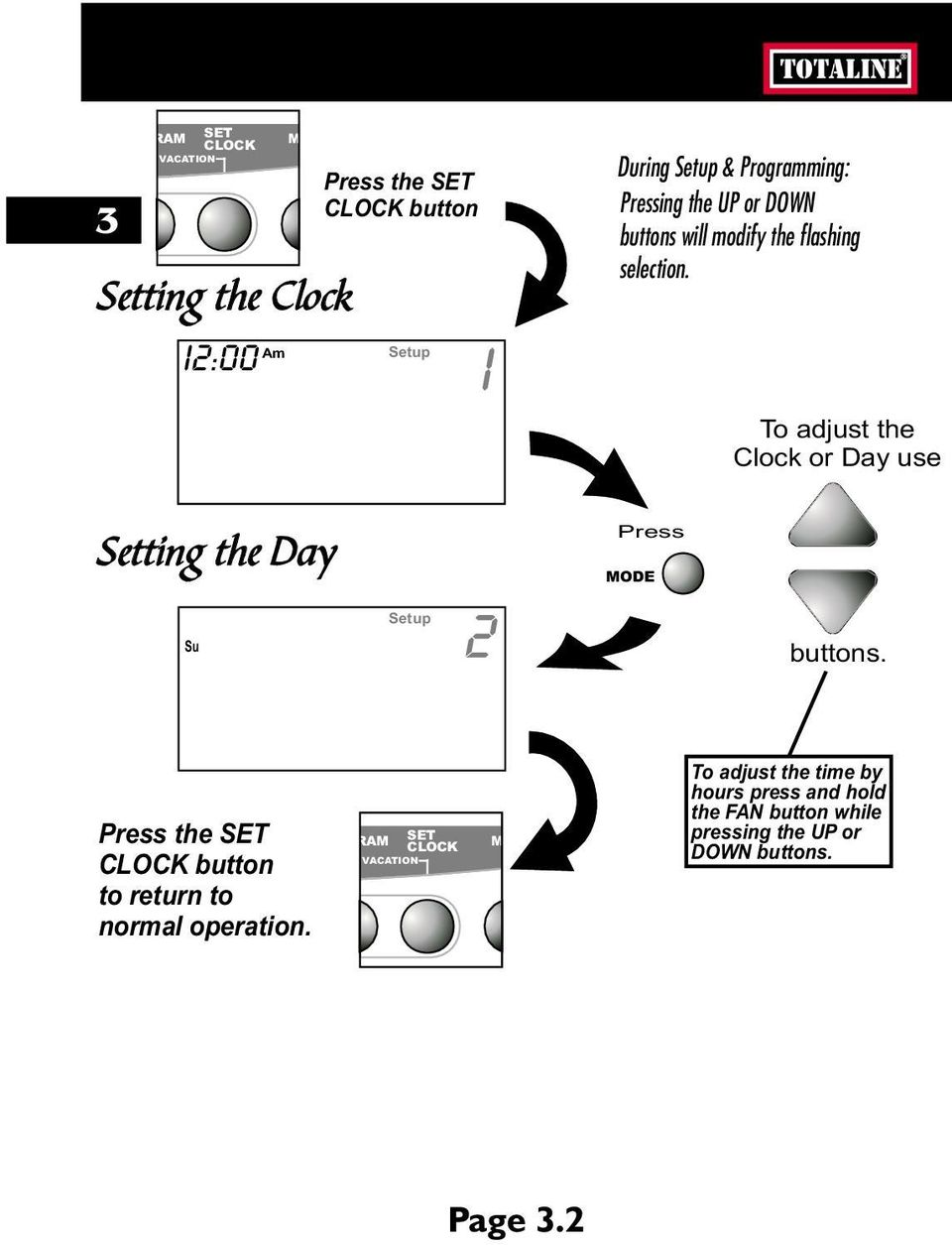 To adjust the Clock or Day use Setting the Day Su Setup 2 buttons.