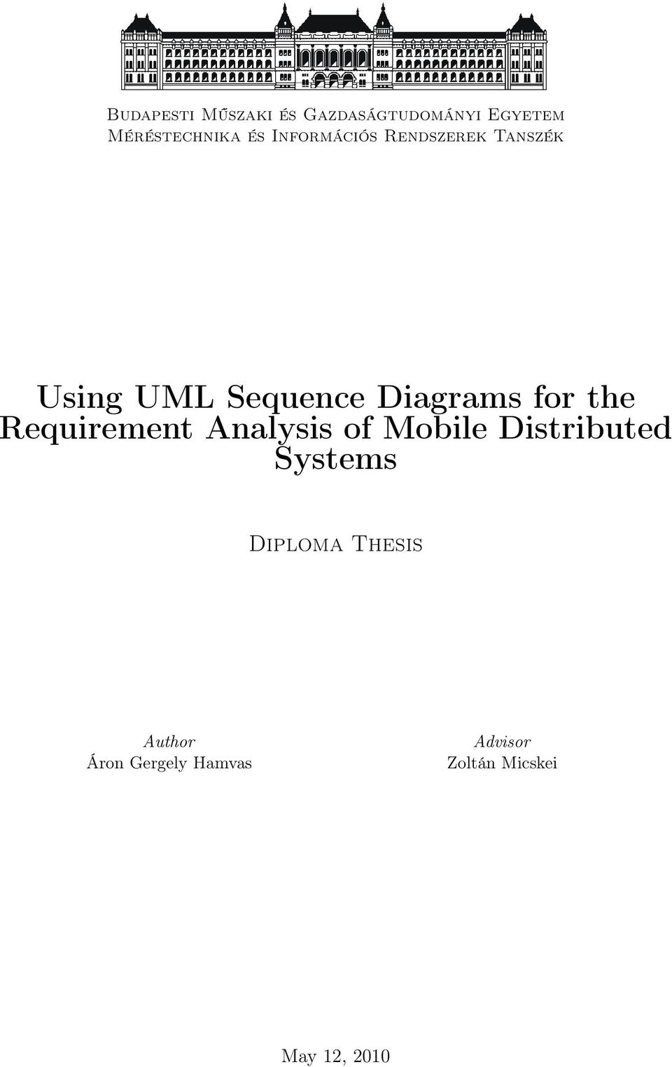 the Requirement Analysis of Mobile Distributed Systems Diploma