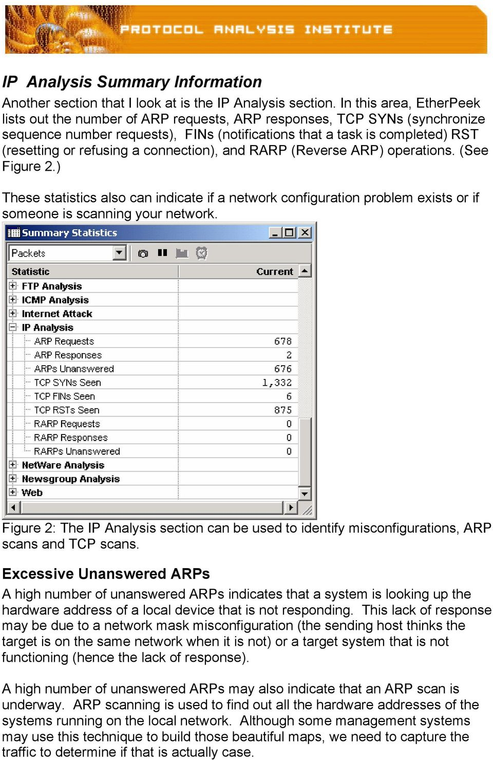 a connection), and RARP (Reverse ARP) operations. (See Figure 2.) These statistics also can indicate if a network configuration problem exists or if someone is scanning your network.