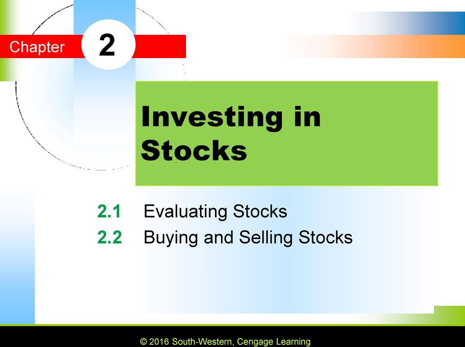 1 Evaluating Stocks