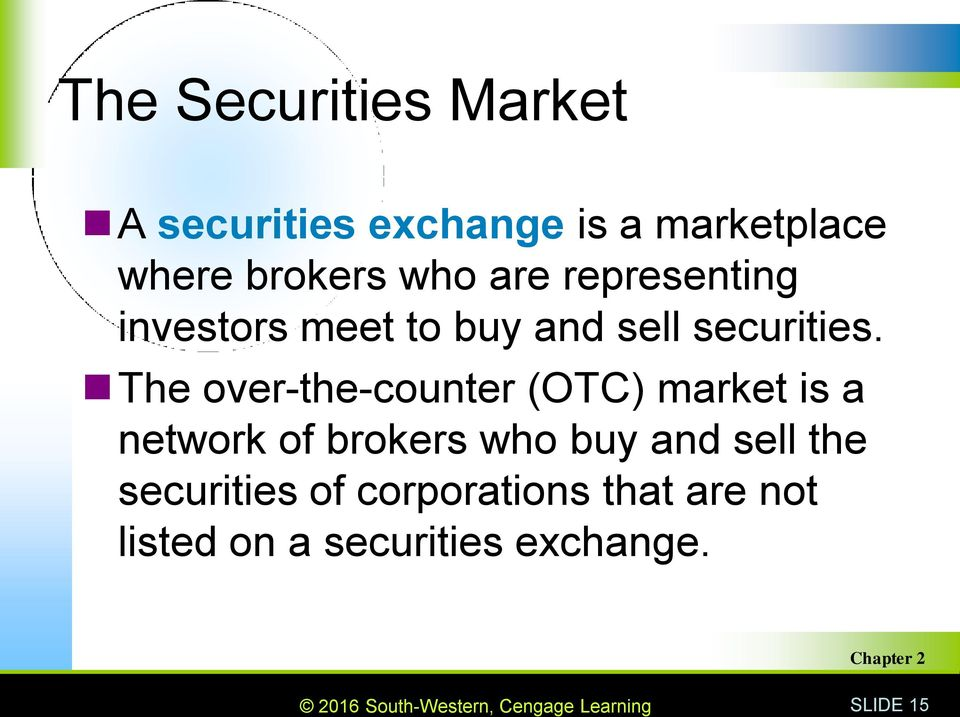 The over-the-counter (OTC) market is a network of brokers who buy and sell