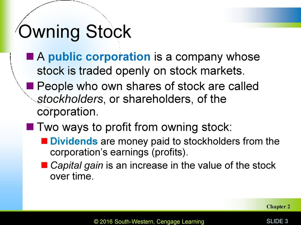 Two ways to profit from owning stock: Dividends are money paid to stockholders from the