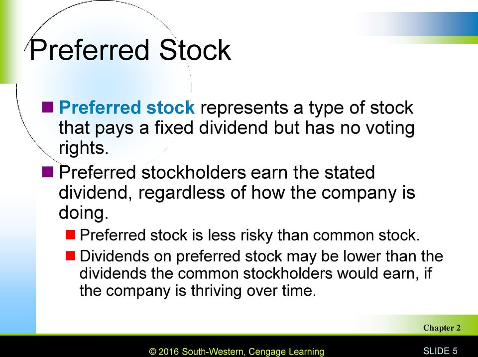 Preferred stockholders earn the stated dividend, regardless of how the company is doing.