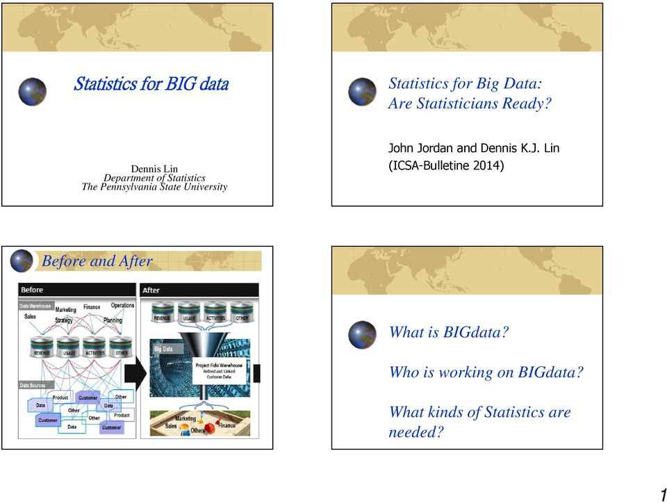 Jordan and Dennis K.J. Lin (ICSA-Bulletine 2014) Before and After What is BIGdata?