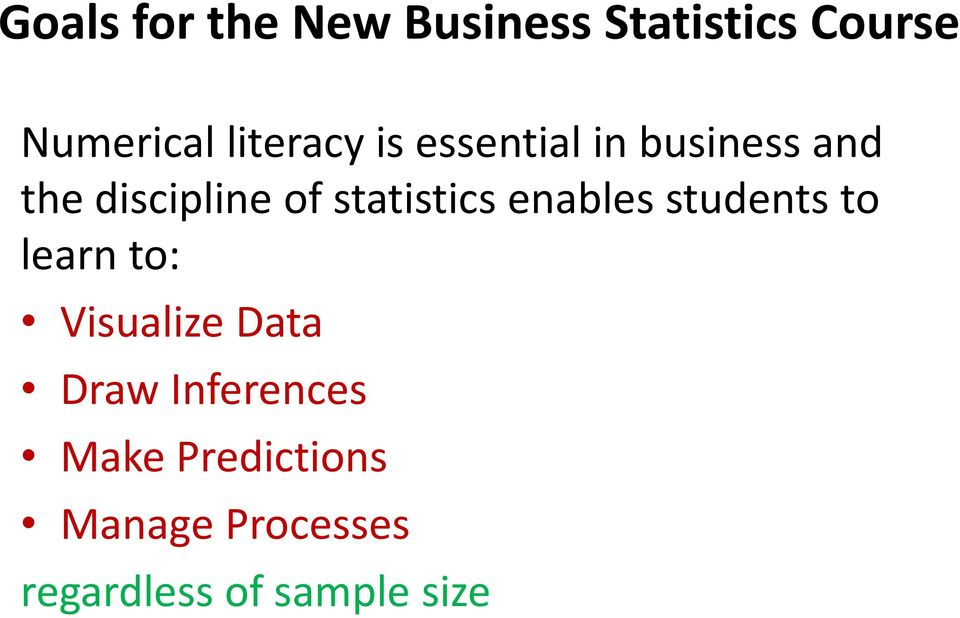 statistics enables students to learn to: Visualize Data Draw