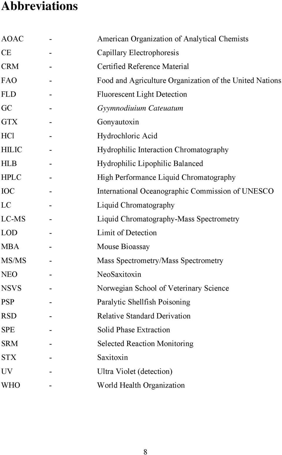 Performance Liquid Chromatography IOC - International Oceanographic Commission of UNESCO LC - Liquid Chromatography LC-MS - Liquid Chromatography-Mass Spectrometry LOD - Limit of Detection MBA -