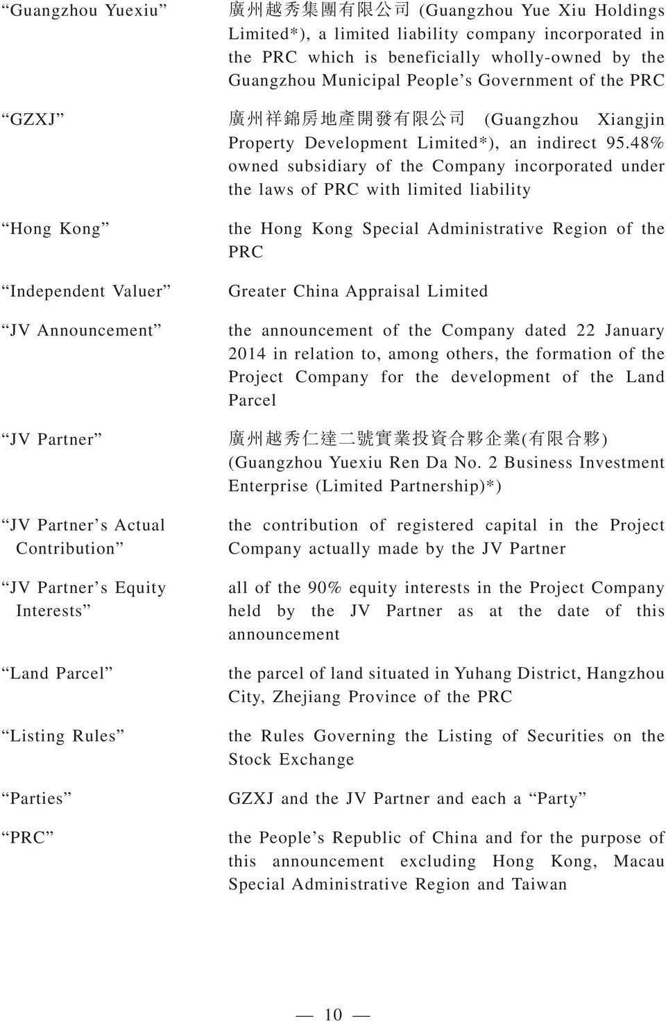 48% owned subsidiary of the Company incorporated under the laws of PRC with limited liability Hong Kong Independent Valuer JV Announcement JV Partner JV Partner s Actual Contribution JV Partner s