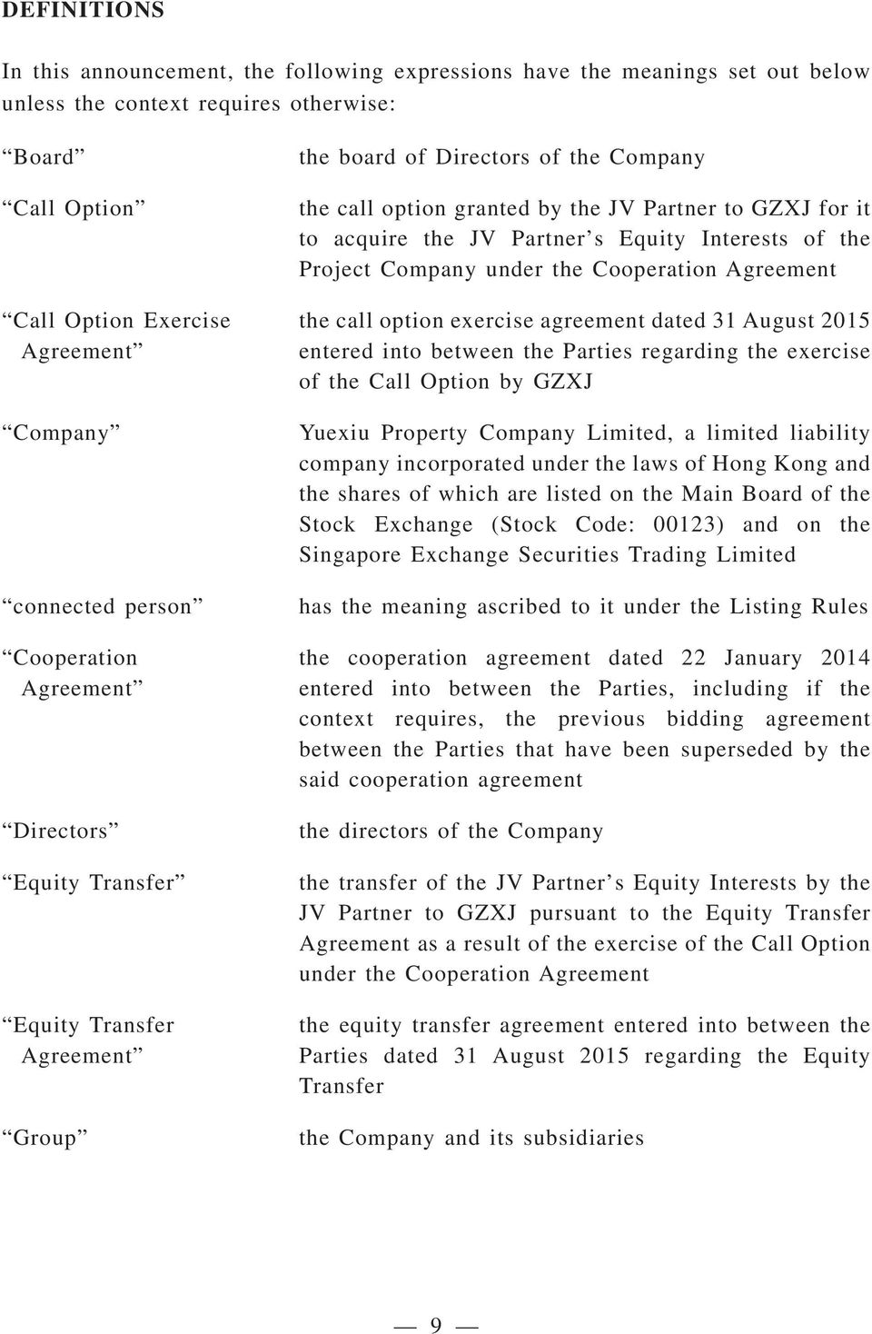 Partner s Equity Interests of the Project Company under the Cooperation Agreement the call option exercise agreement dated 31 August 2015 entered into between the Parties regarding the exercise of