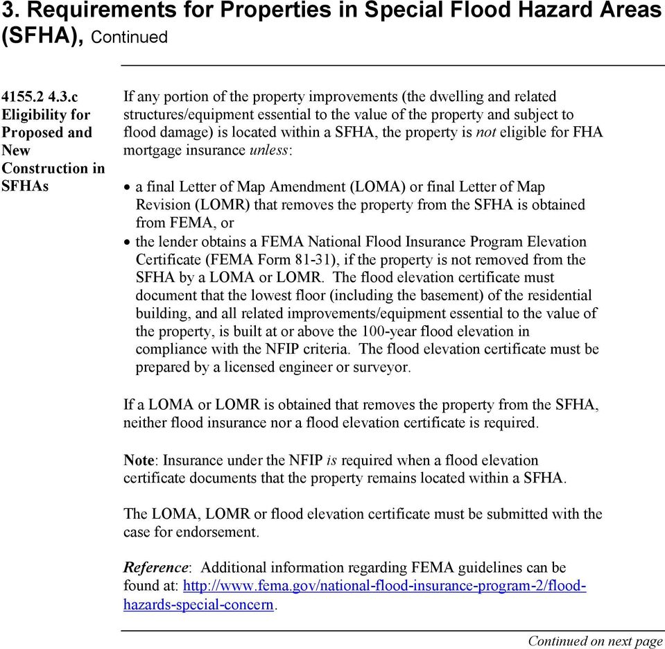 to flood damage) is located within a SFHA, the property is not eligible for FHA mortgage insurance unless: a final Letter of Map Amendment (LOMA) or final Letter of Map Revision (LOMR) that removes