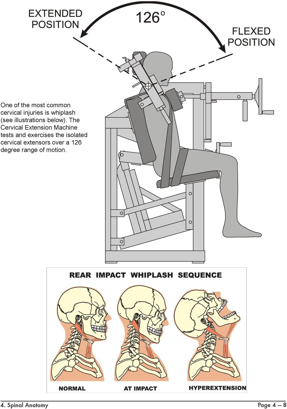 The Cervical Extension Machine tests and exercises the