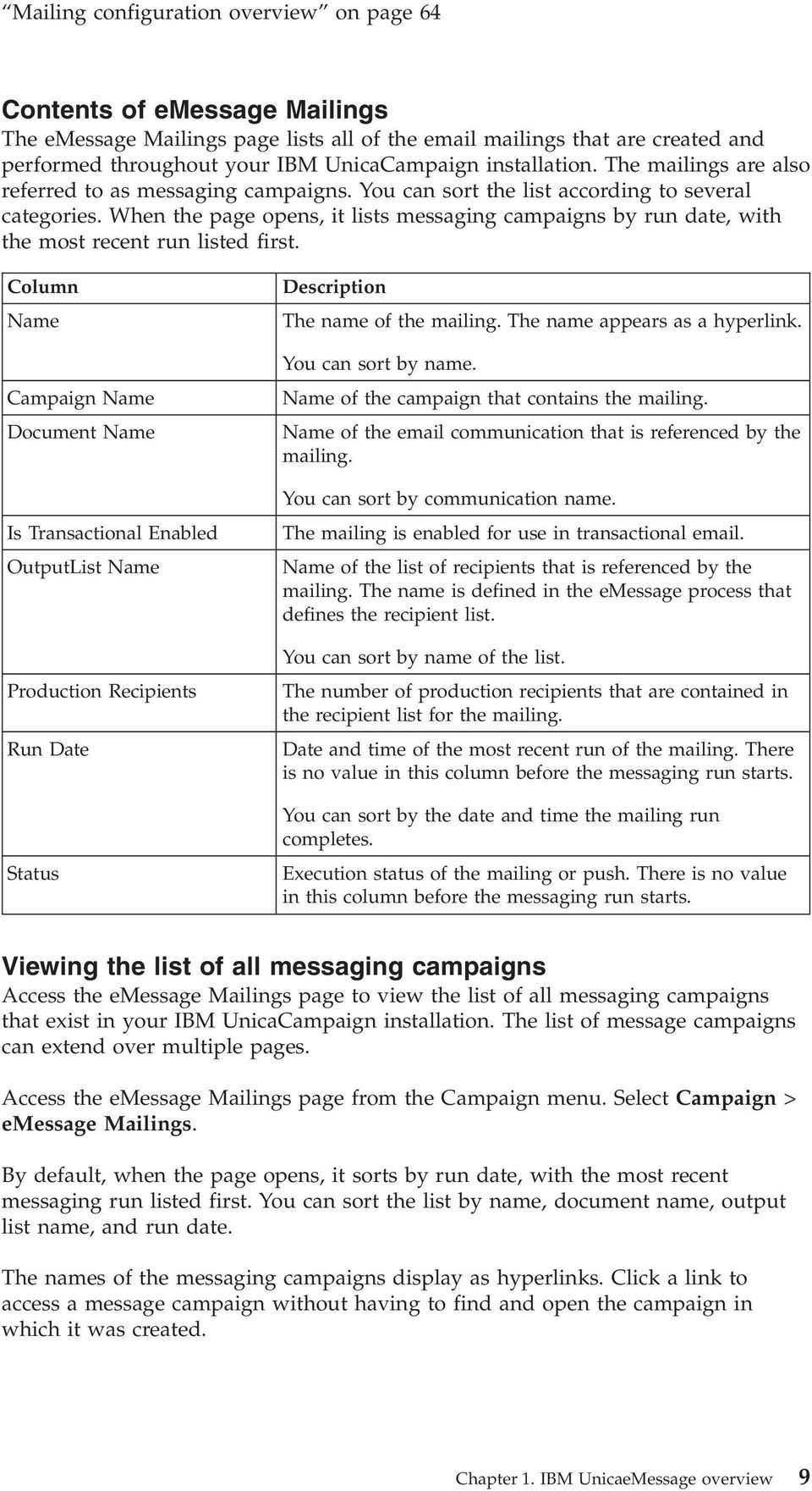When the page opens, it lists messaging campaigns by run date, with the most recent run listed first.