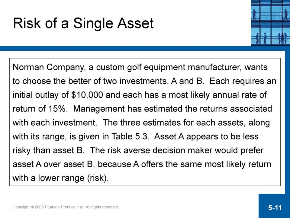 Management has estimated the returns associated with each investment.