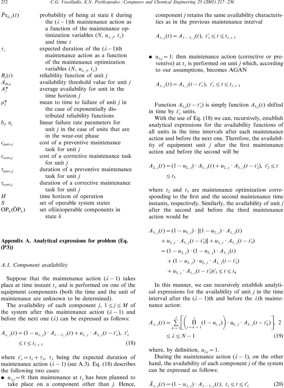 mainenance acion as a funcion of he mainenance opimizaion variables (N, u, j, ) and ime expeced duraion of he ( 1)h mainenance acion as a funcion of he mainenance opimizaion variables (N, u, j, )