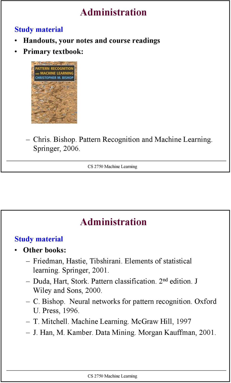 Elements of statistical learning. Springer,. Duda, Hart, Stork. Pattern classification. nd edition. J Wiley and Sons,. C. Bishop.