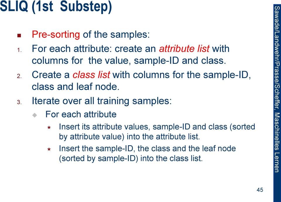 Create a class list with columns for the sample-id, class and leaf node. 3.