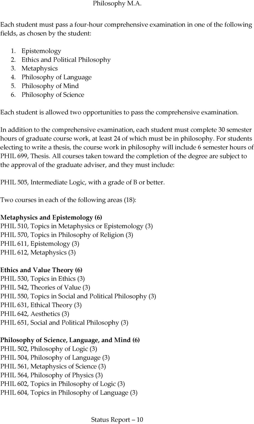 In addition to the comprehensive examination, each student must complete 30 semester hours of graduate course work, at least 24 of which must be in philosophy.