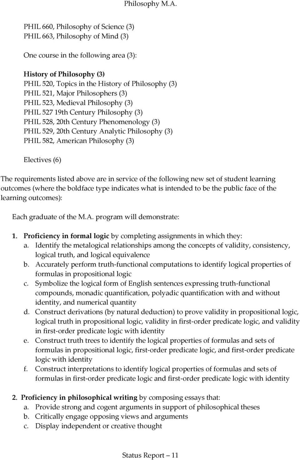 Philosophy (3) Electives (6) The requirements listed above are in service of the following new set of student learning outcomes (where the boldface type indicates what is intended to be the public