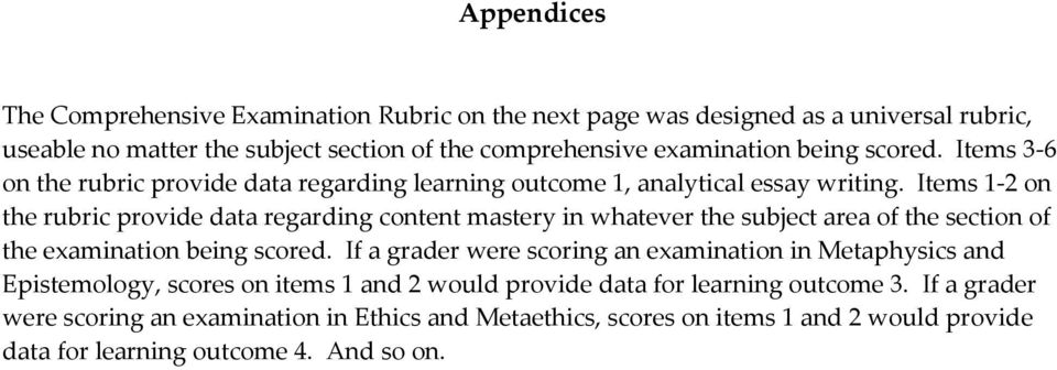 Items 1-2 on the rubric provide data regarding content mastery in whatever the subject area of the section of the examination being scored.
